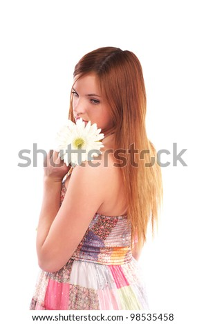 Portrait of beautiful cacuacsian woman with white flower against white background - stock photo