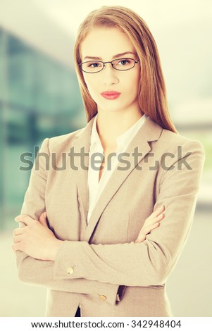 Portrait of beautiful caucasian business woman - stock photo