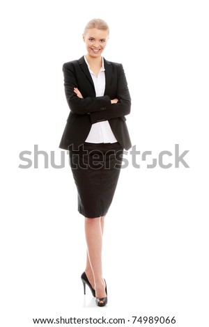 Portrait of beautiful caucasian business woman in black suit, isolated on white background - stock photo