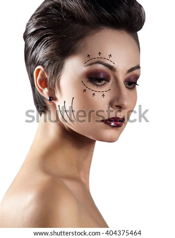 Portrait of beautiful caucasian woman. - stock photo