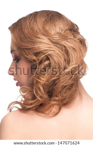 Portrait of Beautiful Caucasian Woman with Hairstyle, isolated on white background  - stock photo
