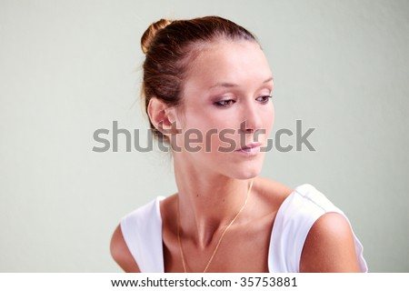 Portrait of beautiful caucasian woman with mediterranean tan