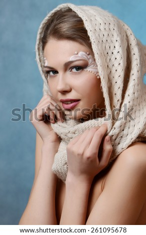 portrait of beautiful caucasian young woman with pearl glamour make-up - stock photo