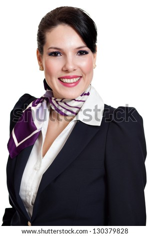 portrait of beautiful dark haired young business woman dressed in a dark blue suit with a purple scarf smiling, isolated on white background - stock photo