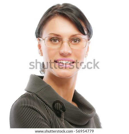Portrait of beautiful dark-haired young student, isolated on white background. - stock photo