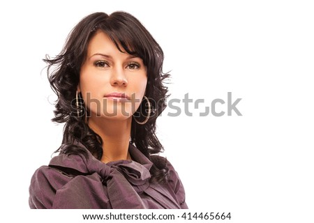 Portrait of beautiful dark-haired young woman, isolated on white background. - stock photo