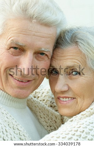 Portrait of beautiful elderly couple outdoor ,close-up