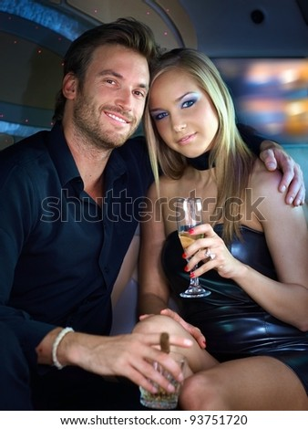 Portrait of beautiful elegant couple smiling.? - stock photo