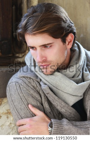 portrait of beautiful elegant man - stock photo