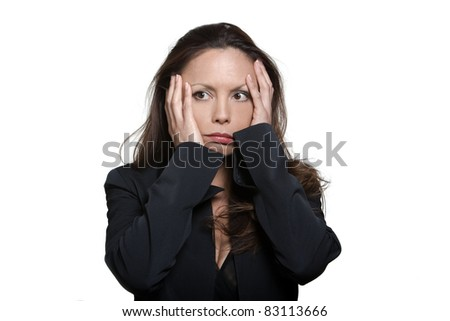 Portrait of beautiful expressive distraught Asian woman in studio isolated on white background - stock photo
