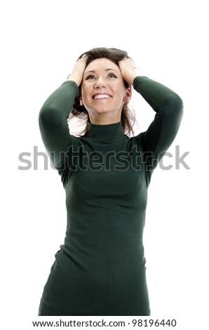 Portrait of beautiful fashion model in green dress. Isolated over white.