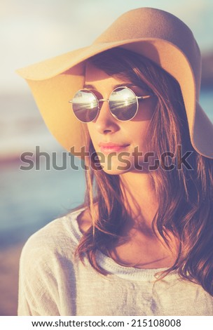 Portrait of Beautiful Fashionable Hipster Woman   - stock photo