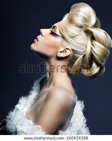 portrait of beautiful fashionable woman - stock photo