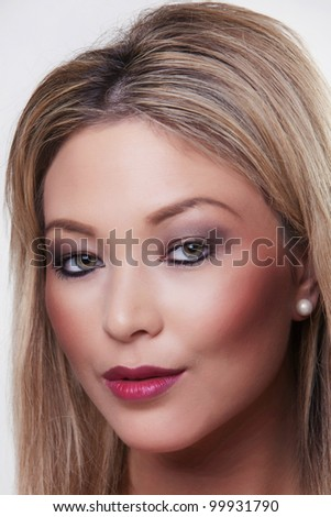 Portrait of beautiful female model close up headshots - stock photo