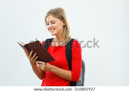 Portrait of  beautiful female student learning.Student learning