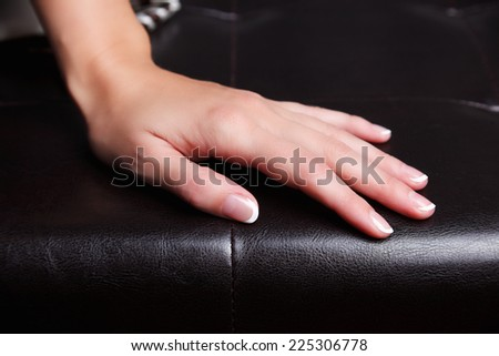 Portrait of beautiful french manicured nails - stock photo