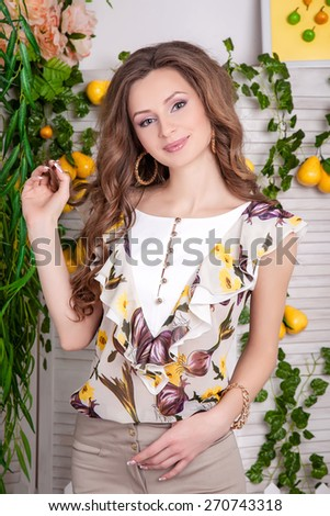 portrait of beautiful girl in clothes - stock photo