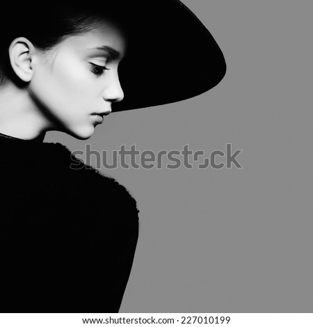 portrait beautiful girl hat profile posing stock photo