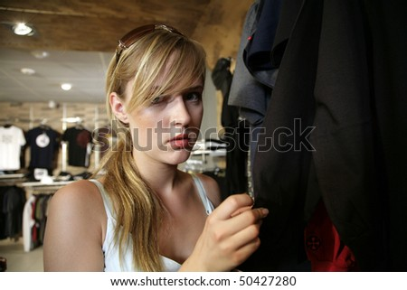 Portrait of beautiful girl in shop