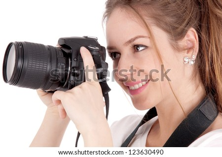 Portrait of beautiful girl  making photos - stock photo