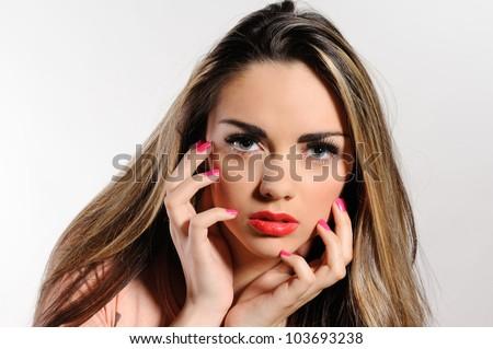 Portrait of beautiful girl  on grey background - stock photo