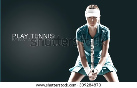 Portrait of beautiful girl tennis player with a racket isolated on dark background - stock photo