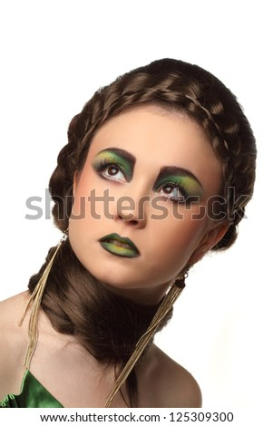 portrait of beautiful girl with art make-up - stock photo
