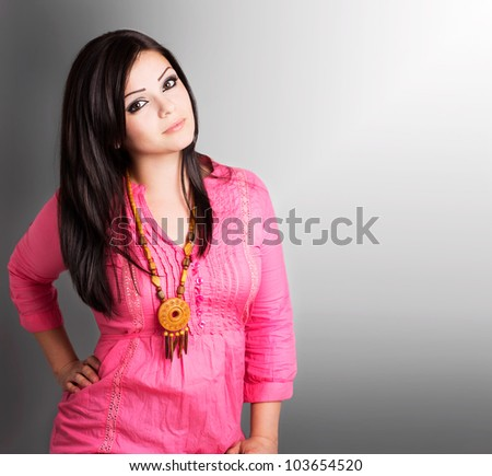 portrait of beautiful girl with copyspace - stock photo