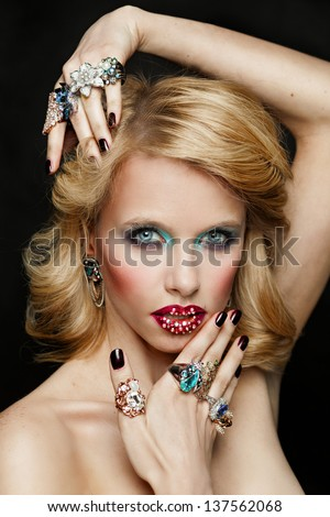 portrait of beautiful girl with diamonds