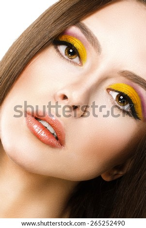Portrait of beautiful girl with make-up - stock photo