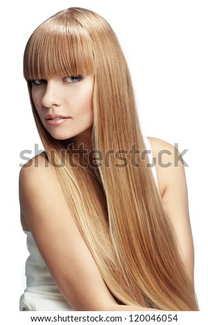 Portrait of beautiful girl with perfect long shiny blond hair studio shot isolated on white background - stock photo