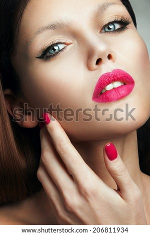 Portrait of beautiful girl with pink lips and blue eyes - stock photo
