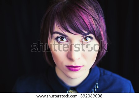 Portrait of beautiful girl with pink lips and short hair - stock photo