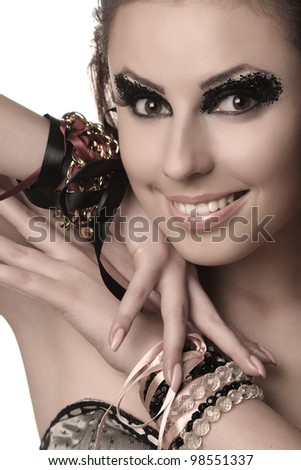 portrait of beautiful girl with the mysterious make-up