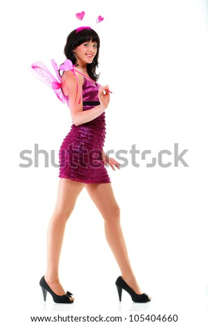 portrait of beautiful girl woman red pink heart isolated on white - stock photo