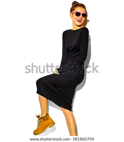 portrait of beautiful happy cute smiling brunette woman girl in casual black hipster summer clothes with red lips isolated on white - stock photo