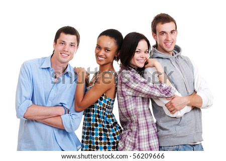 portrait of beautiful happy friends. isolated on white background - stock photo