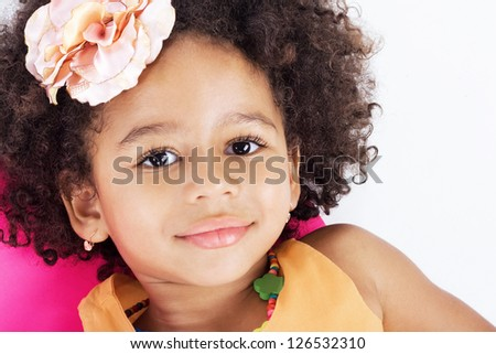 Portrait of beautiful happy little girl - stock photo