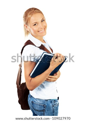 Portrait of beautiful happy student female, attractive clever smiling school girl with textbook isolated on white background, pretty smart cheerful teenager with laptop bag,education concept - stock photo