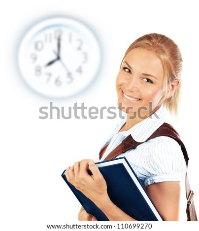 Portrait of beautiful happy student female, attractive clever smiling school girl with textbook isolated on white background, pretty smart cheerful teenager and clock on wall, education concept - stock photo