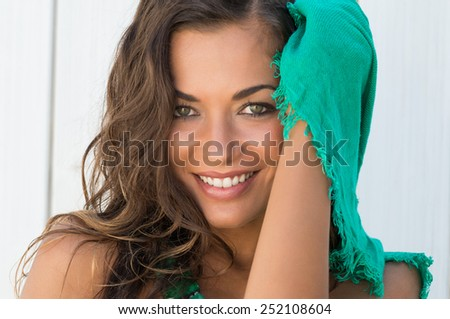 Portrait Of Beautiful Happy Woman With Scarf In A Summer Day - stock photo