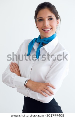 Portrait of beautiful hostess looking at camera. - stock photo