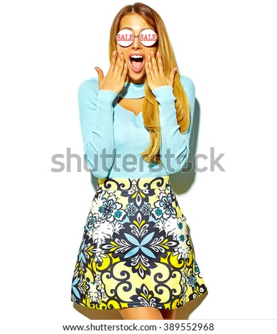 portrait of beautiful hot blond surprised woman girl in casual hipster summer clothes with no makeup isolated on white in sunglasses reflecting word sale - stock photo