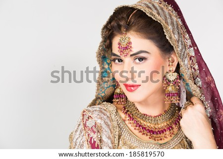 portrait of beautiful Indian bride, happy indian bride