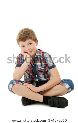 Portrait of beautiful little boy isolated on white