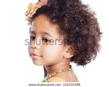 Portrait of beautiful little girl against white background - stock photo