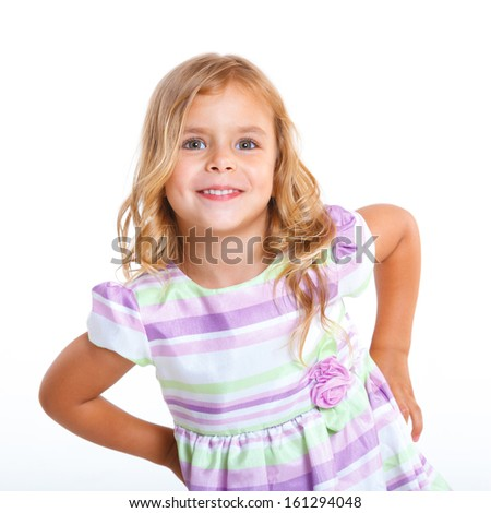 Portrait of beautiful little girl happy smiling on studio. Isolated white background