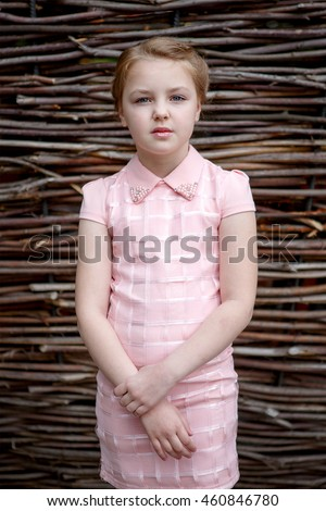 Portrait of beautiful little girl in dress on the background of the twigs of the branches