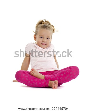 Portrait of beautiful little girl, studio on white background