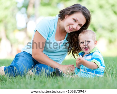 portrait of beautiful mother and happy son